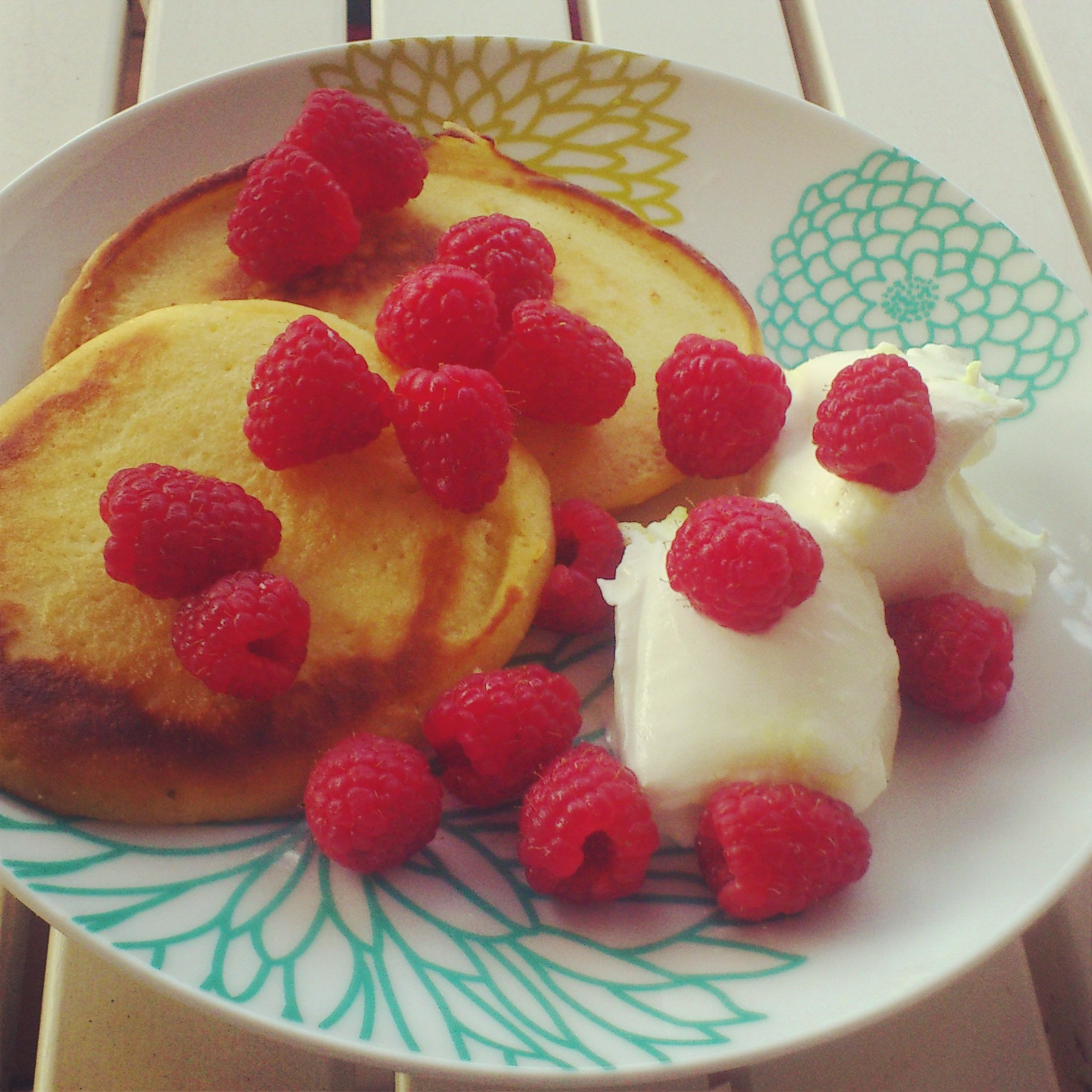 Breakfast almond pancakes with lemon Greek yogurt and ...